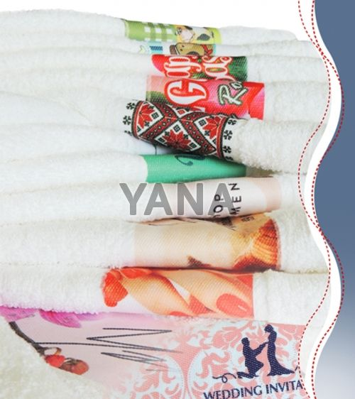 Custom made towels with printed logo in border